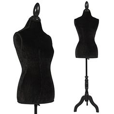 Black Female Mannequin Torso Dress Form Display W/ Black Tripod Stand - Best Choice Products is proud to present this brand new Female Mannequin Torso. The mannequin will provide the ability to display your clothes in a cute and classy manner. It comes with a black aluminum pole and black wooden base. The mannequin is made out of fiber glass, making it durable so it ...