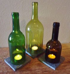 Wine Bottle Centerpieces -Candle