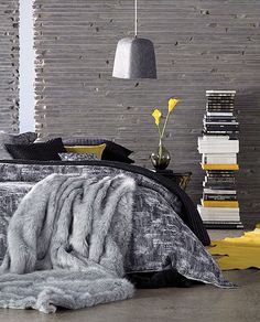 bedroom fits in steves den colors (grey).  I like it, but he may not like the yellow...