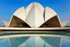 Lotus temple New Delhi made up of 27 'lotus petals' clad in white marble