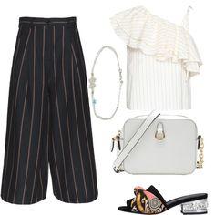22e38eb63d1175 Mix di righe: outfit donna Trendy per cerimonia | Bantoa. Pantaloni ...