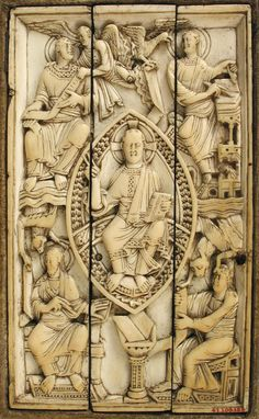 Plaque with Christ in Majesty and the Four Evangelists, 1000–1100; mounted on a 15th-century Lectionary  Ottonian (probably Cologne, Germany)  Ivory Overall 6 1/8 x 3 3/4 in. (15.6 x 9.5 cm)    Metropolitan Museum of Art: