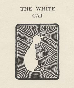 "Woodcut print of white cat in abstract design, black and white graphic. From, Jacobs, W.W., ""Captain's All"", 1909. Charles Scrivner's Sons, N.Y. Scan of 2 d image in the public domain believed to be free to use without restriction in the US"