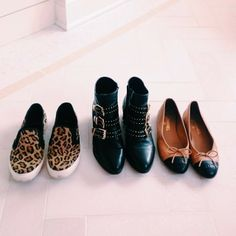 Cheetah loafers, gold-embellished boots, cap-toe flats.