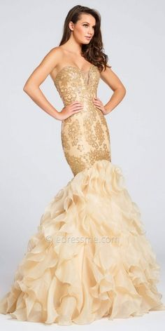 Sparkling Strapless Sweetheart Organza Mermaid Gown by Ellie Wilde for Mon Cheri #edressme
