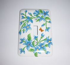 Blue floral steel single light switch cover by MoanasUniqueDesigns, $10.00