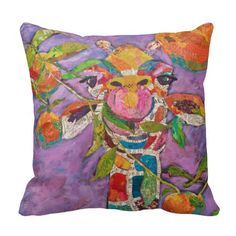 Cute Giraffe Throw Pillows will make themselves at home whether they're placed in the bedroom, living room, den, or nursery. They are colorful and artsy.