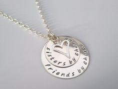 """""""Sisters"""" handstamped sterling silver pendant (personalised keepsake jewellery) £29.00"""