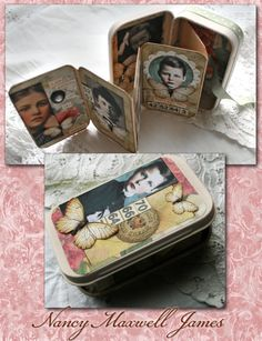 how to make a found poetry altered tin By Sugar Lump Studios - would make a great purse album of your kids or grandkids