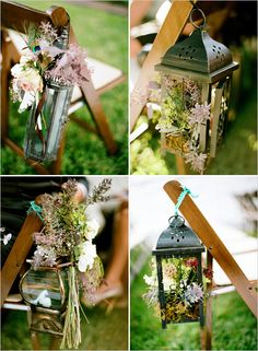 Maybe with our mini lanterns/flowers and a nice ribbon or tulle to match your dresses.Wedding aisle decor - lanterns with flowers - perfect for the daytime and then change out for candles at night Fall Wedding, Rustic Wedding, Our Wedding, Dream Wedding, Gothic Wedding, Wedding Ceremony, Lanterns With Flowers, Vintage Lanterns, Rustic Lanterns