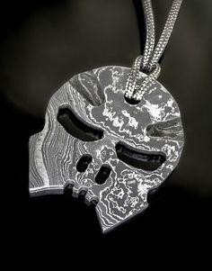 «Ghostrider One» Anhänger – Damaststahl
