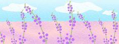 【facebook cover】『明日の誕生花、ラベンダーを描いてみました。色も香りも癒されます~。』制作日7/4