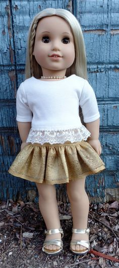 Crop top with lace trim by GumbieCatDollDesigns on Etsy. Made with the T-shirt Variations pattern. Find it here http://www.pixiefaire.com/products/t-shirt-variations-18-doll-clothes. #pixiefaire #libertyjane #tshirtvariations
