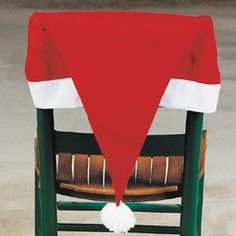 Set of 4 Santa Hat Chair Covers Christmas Holiday