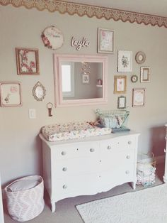 Nursery, baby girl nursery, blush and gold nursery, flower mobile, diy nursery…