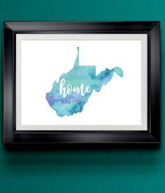 West Virginia Watercolor Home Print | 8.5 x 11 | Wall Decor