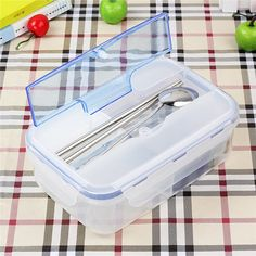 1pc Ecofriendly Outdoor Portable Microwave Lunch Box with Soup Bowl Chopsticks Spoon Food Containers For kids School Office