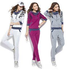 2014 new fashion women winter piece sportswear leisure suit jacket , three colors ( gray / white / purple ) Free Shipping $22.59