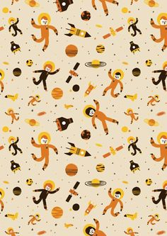 pattern | astronauts in outer space illustration by Ben Javens