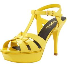 Saint Laurent Tribute Mid-Heel Patent Platform Sandal yellow My... ❤ liked on Polyvore featuring shoes, sandals, patent leather sandals, yellow platform shoes, yves saint laurent shoes, platform sandals and mid heel sandals