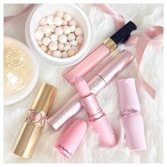 Pink and Gold Makeup Guerlain Snowflake Meteorites Chanel Lipgloss YSL Rouge Volupte Lipstick MAC Giambattista Valli Bianca B Lipstick Etude House Lipstick Too Faced Better Than Sex Mascara  Instagram: @catherine.mw