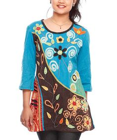 Take a look at this Turquoise & Brown Floral Tunic - Women by Rising International on #zulily today!