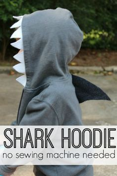 DIY Shark Hoodie {No Sewing Machine Needed} | Southern State of Mind