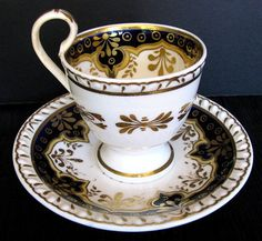 Gadrooned cup and saucer set with cobalt blue gilt by John & William Ridgway, England c. 1825