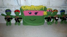 tmnt teenage mutant ninja turtles i made my niece i included a girl turtle and a purse to carry her turtles. for her birthday. crochet https://www.facebook.com/DeniseOriginalCrochetedCreations?ref=hl