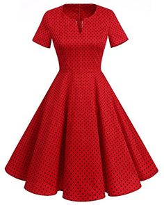 851adb4c23 REPHYLLIS Women s Vintage 1950s Dress V-Neck Short Sleeves Retro Swing Dress
