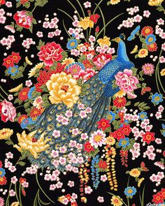 Sakura - Blossoming Peacock - Quilt Fabrics from www.eQuilter.com