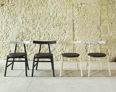 Ronin Marble Back Dining Chair - Contemporary luxury furniture, lighting and interiors in New York Marble Machine, Traditional Cabinets, Contemporary Dining Chairs, Black Stains, Raw Wood, Cabinet Makers, Luxury Furniture, Interior, Inspiration