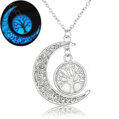 Linsh Womens Girls Tree of Life Necklace Glow in Dark Hollow Out Carved Moon Pendant Necklace. Material: Alloy. Novelty and good quality. Pendant Size: 1.14 inches * 0.8 inches, Chain Length: 17.7 inches + 1.97 inches. Great gifts for friends, womens, girls, lovers, kids, etc. Glow in the dark, looks beautiful.