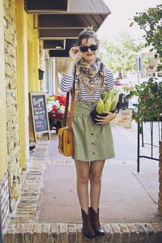 Striped shirt, pinafore, patterned scarf, red lips, ankle boots, and Essex messanger bag from Madewell.