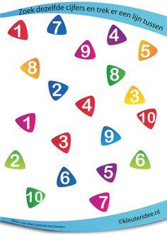 Zoek dezelfde cijfers, juf Petra van kleuteridee.nl , rekenen met kleuters, looking at the same numbers, free preschool printable.