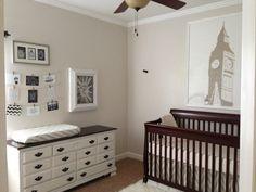 neutral nursery, England theme, big ben, Changing table, dresser, refinished chalk paint dresser