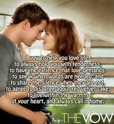 Umm... Thanks Nicholas Sparks for writing my vows for me! Haha ...