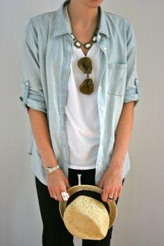 straw fedora + chambray shirt + aviator sunglasses + rhinestone necklace. summer.