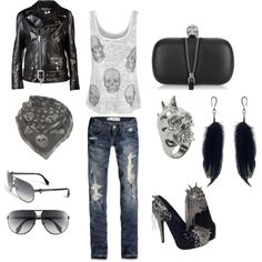 Biker Chic.. Love this outfit, especially the shoes!!