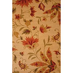 Update your home with an exotic floral area rug in shades of beige, red, green and orange. This hand-tufted wool rug adds a sophisticated element to your contemporary decor.