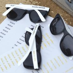 5fe46a8d9f Wedding Favors Idea - White and black frame wedding sunglasses personalized  with two lines of print. My Wedding Reception Ideas