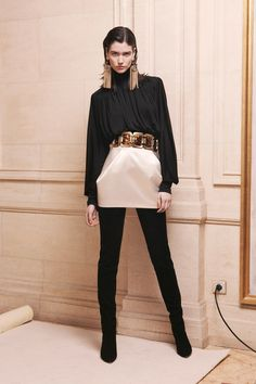 Balmain | Black satin blouse with thick cuffs and pearl satin mini skirt with statement belt