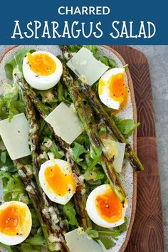 Perfect for springtime, this charred asparagus salad with soft boiled egg is perfect for a spring brunch, holiday, or a fancy treat-yo-self lunch. Clean Eating Recipes, Healthy Recipes, Healthy Salads, Yummy Recipes, Egg Recipes, Salad Recipes, Lunch Recipes, Dinner Recipes, Different Salads