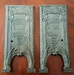 """22 1/2"""" X 10"""" X 1 1/2"""" 17lbs X 2     Early Art Deco Cast Iron (1915-20) Empire Theater Chair Brackets. Pair (L&R). Sand Blasted/Beaded/Oiled.     Early Embossing, Incredible Detail. Salvaged many years ago from the Springfield Massachusetts Theater District.    Also Avaliable for Pick-up. Save on Shipping.     