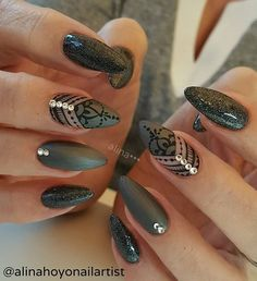 195 Likes, 3 Comments - Alina Hoyo Nail Artist ( on Instagr. Nail Swag, Fabulous Nails, Gorgeous Nails, Pretty Nails, Gelish Nails, Nail Manicure, Manicures, Get Nails, Fancy Nails