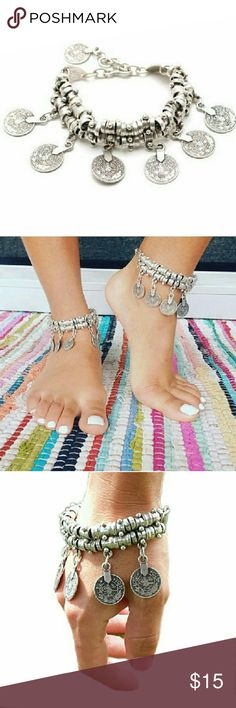 Ethnic Bohemian Coin Charm Anklet / Bracelet Ethnic Bohemian Coin Charm Anklet / Bracelet  Silver plated vintage Retro foot jewelry National Dance bracelet fashion jewelry bracelet. Length (inches): chain about 17cm?6.69 inches?, 8cm ?3.15 inches?adjustable. Jewelry Bracelets