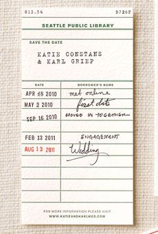 Library Card Save the Date with important dates, so cute!