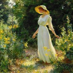 """A Spray of Goldenrod,"" by Charles Courtney Curran, 1916 The gardens of the soul"