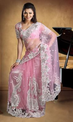 Dazzling Net Saree with Blouse