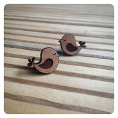 FREE AU SHIP - Sterling Silver stud post earrings - Wooden 'Sleepy birds' with…